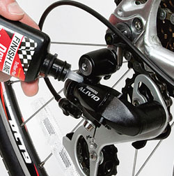 A few drops of lube on the derailleur and brake pivot points makes all the difference